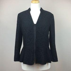 HINGE Zip Up Peplum Blazer Jacket Lace Medium